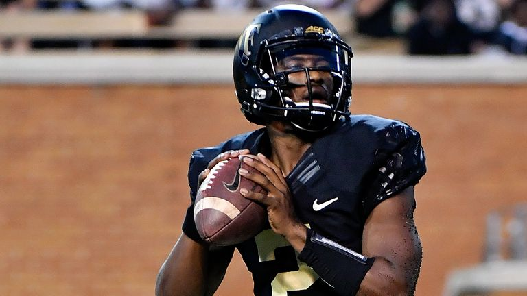Kendall Hinton in action at quarterback for Wake Forest
