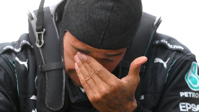 Lewis Hamilton delivered an emotional message to his team and his fans after securing a record-equalling seventh world title.