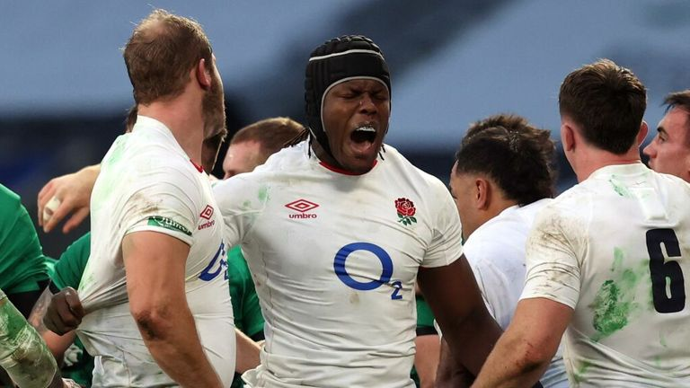 Maro Itjoe celebrates with England after beating Ireland