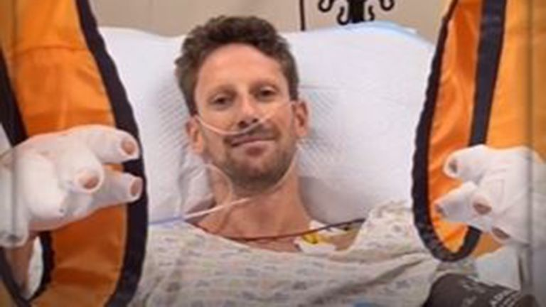 Romain Grosjean spent three nights in hospital after suffering burns to his hands in a terrifying accident in Bahrain