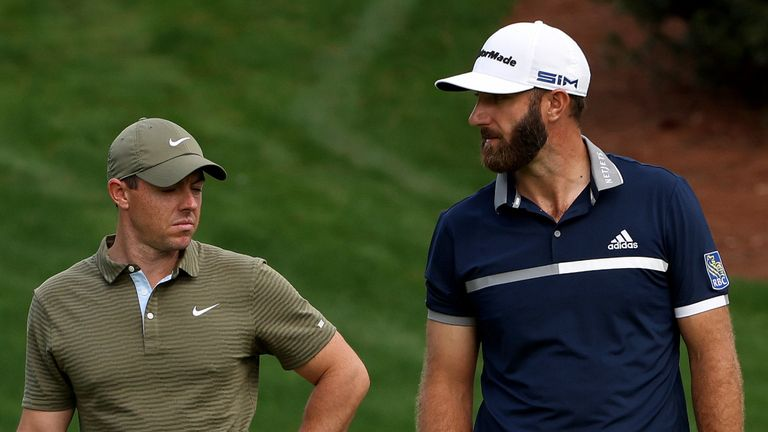Rory McIlroy played alongside Dustin Johnson (right) and Patrick Cantlay over the first two days