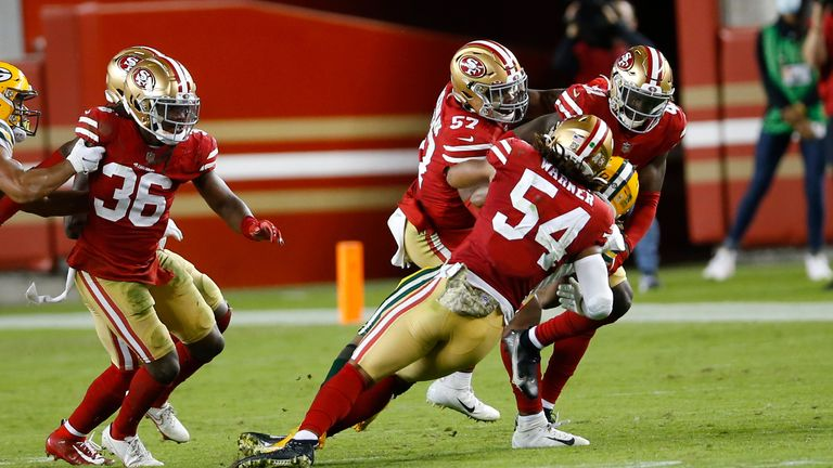 The 49ers pictured in action against Green Bay earlier this month