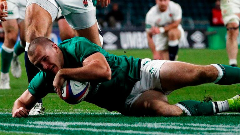 Jacob Stockdale scored Ireland's only try against England at Twickenham