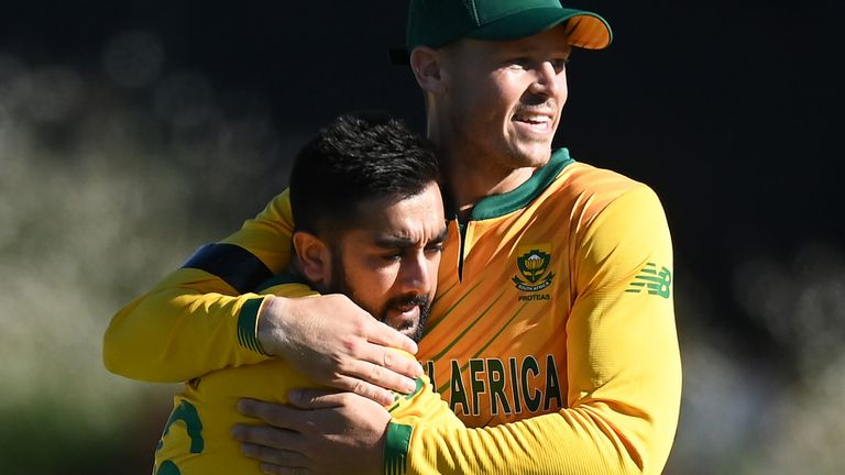 South Africa spinner Tabraiz Shamsi (L) finished with his best T20I figures of 3-19