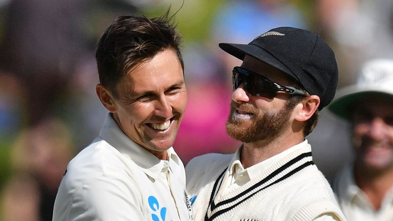 Trent Boult (L) and Kane WIlliamson will miss New Zealand's T20s with West Indies in order to be fully fit for the Test series