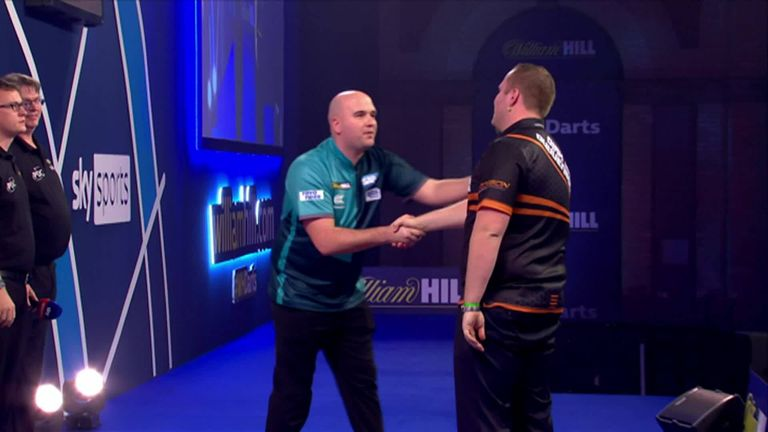 Dirk van Duijvenbode produces one of the shocks of the World Darts Championship as he beats former champion Rob Cross 3-2.