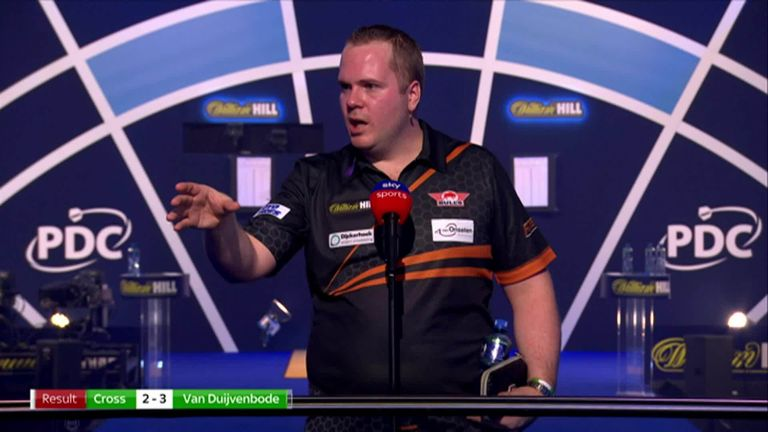 The 'Aubergenius' Dirk van Duijvenbode was left speechless after beating former champion Rob Cross at the World Darts Championship.