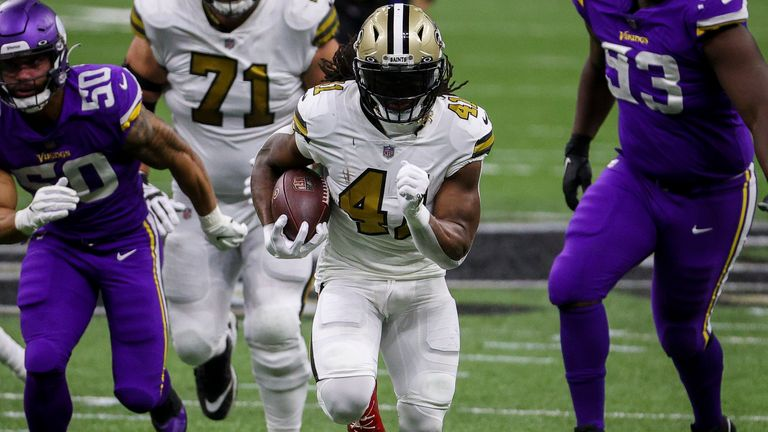 Alvin Kamara ran in for five touchdowns in a remarkable Christmas Day win for the New Orleans Saints against the Minnesota Vikings
