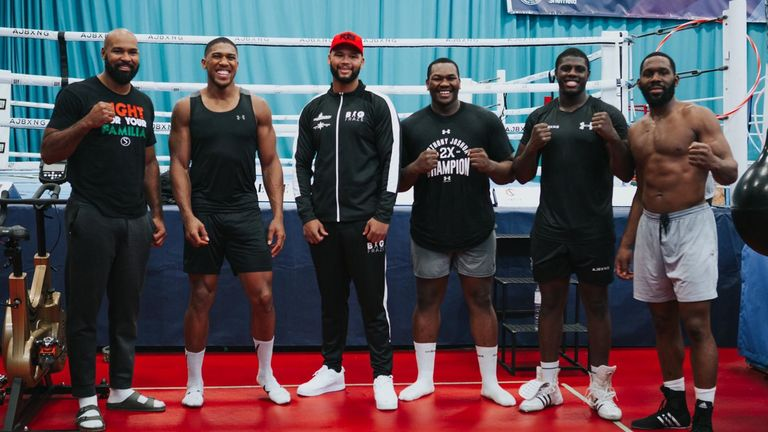 Hosea Stewart (fourth from the left) with Joshua and other sparring partners