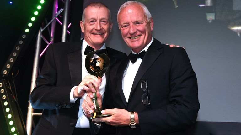 Hearn (right) with Steve Davis after he was inducted into Snooker's Hall of Fame in 2018