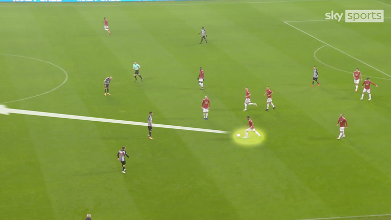 Fernandes looks to unleash the wide forward from deep, as he did here, launching a long ball to assist Marcus Rashford against Newcastle