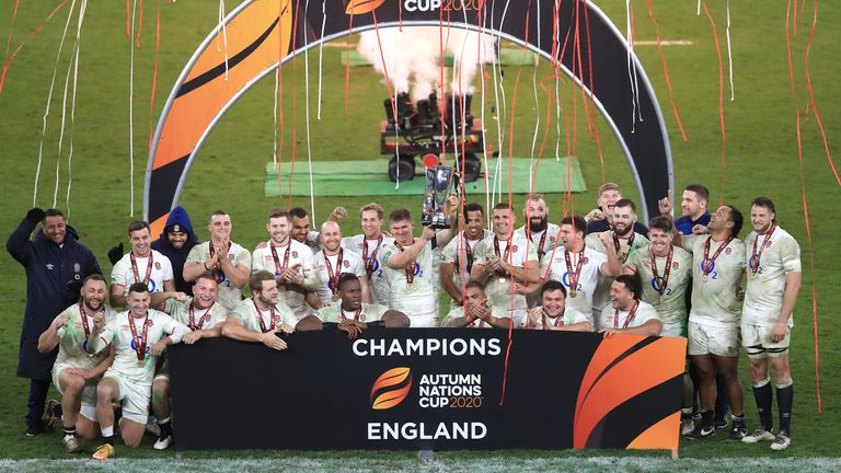 England captain Owen Farrell lifts the Autumn Nations Cup