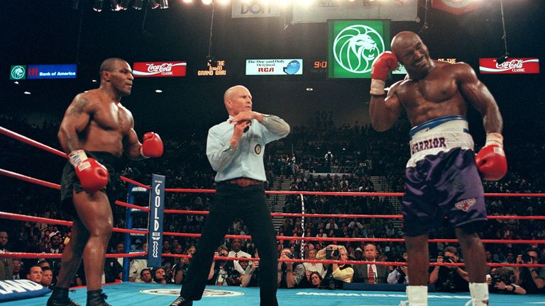 Mike Tyson was disqualified in his second fight against Evander Holyfield after bizarrely biting his ear