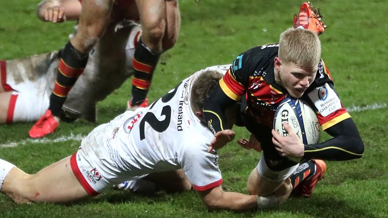George Barton dives over to grab the game-clinching try for Gloucester