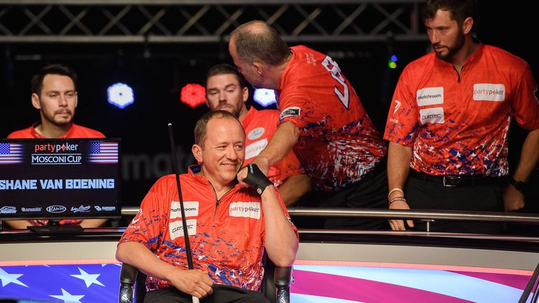 All smiles for Shane Van Boening who kept things close overnight thanks to an important win