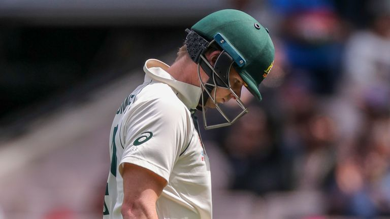 Steve Smith's struggles in the series continued as he was bowled by Jasprit Bumrah for eight