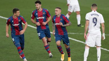 Levante's players celebrate their stunning win at Real Madrid