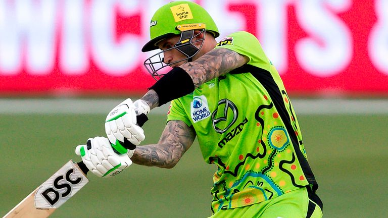 Alex Hales, pictured in action for Sydney Thunder, has not played for England since March 2019