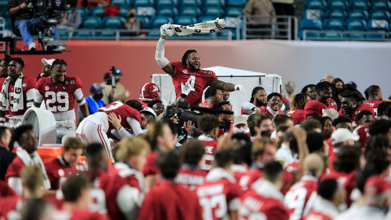 Alabama Crimson Tide linebacker Ben Davis celebrates after victory over Ohio State in Florida