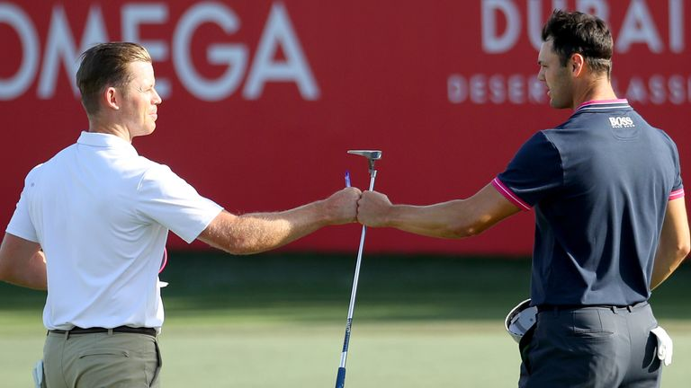 Brandon Stone (left) played alongside Martin Kaymer, who slipped out of contention after a third-round 75