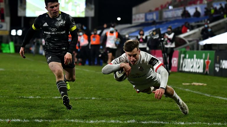 Ethan McIlroy dives over to score Ulster's second try against Munster