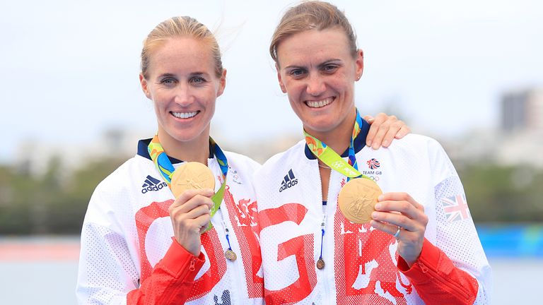 Glover and Heather Stanning (right) successfully defended their Olympic title by winning gold in the women's pair at Rio 2016