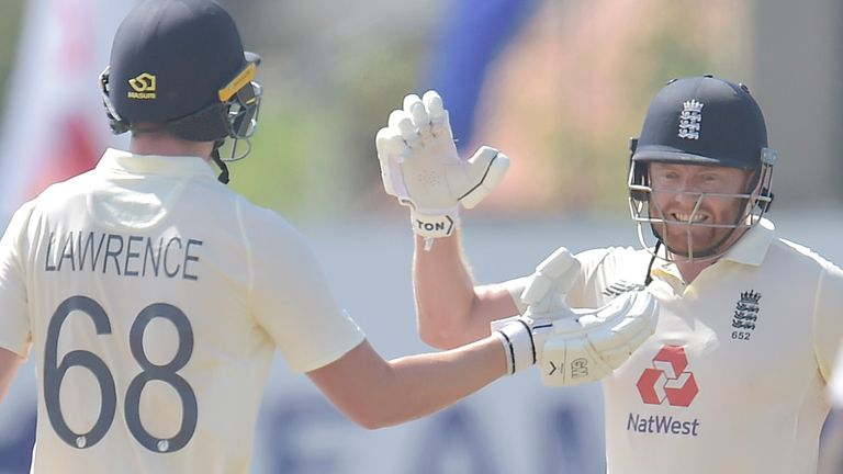 Jonny Bairstow (R) and Dan Lawrence saw England home by seven wickets in the first Test against Sri Lanka at Galle