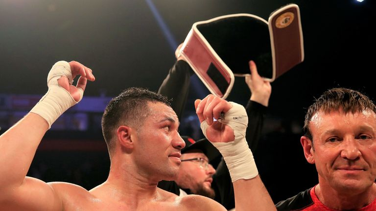 Parker's WBO belt was ripped away during his celebrations