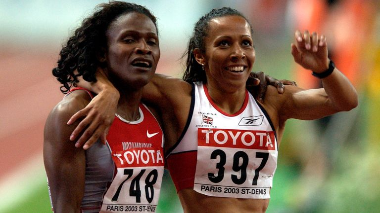 Maria Mutola (left) and Holmes finished first and second respectively in the 800 meters at the World Championships in Paris