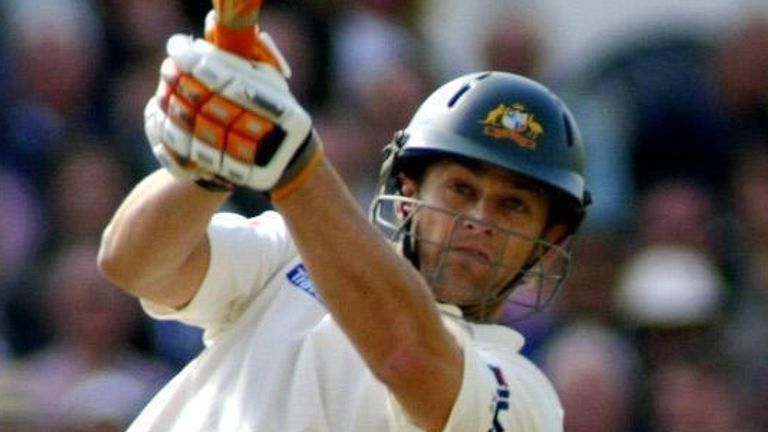 Australia's Adam Gilchrist launches a six during the fourth Ashes Test match at Trent Bridge, in 2005