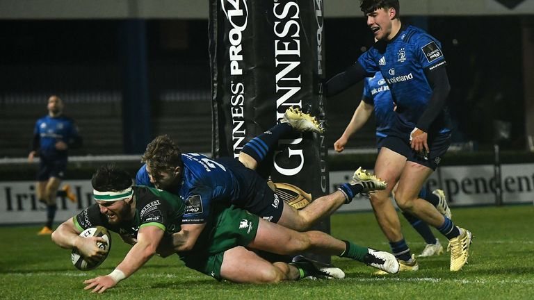 Tom Daly dives over for a try against Leinster at the RDS Arena