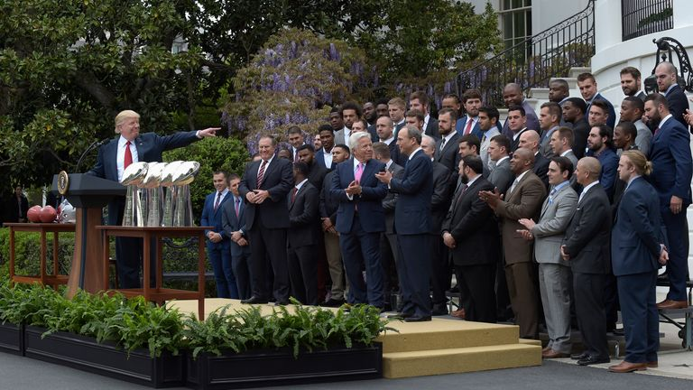 Trump during a ceremony at the White House in April 2017 as the President honoured the New England Patriots for their Super Bowl victory