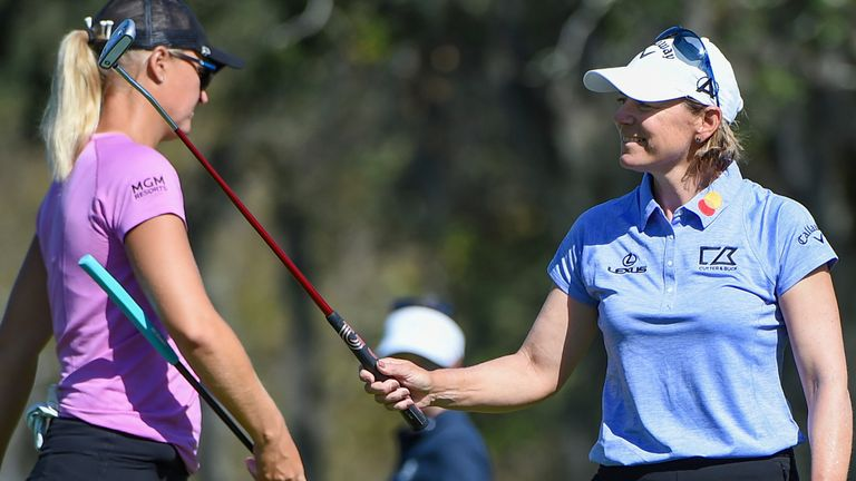 Sorenstam (right) played alongside fellow Swede Anna Nordqvist