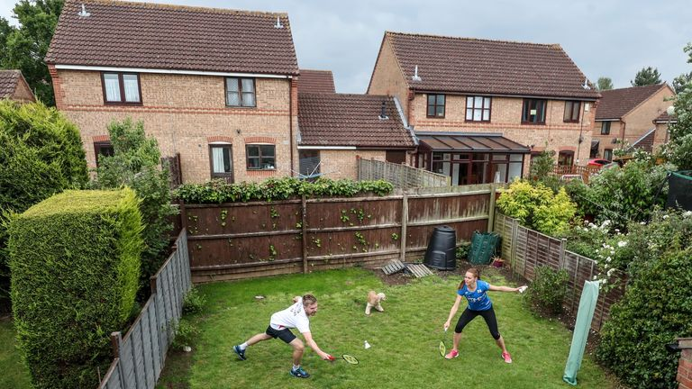 British badminton players Lauren Smith and Marcus Ellis improvise to keep up their fitness in the back garden of their Milton Keynes home (Pic: PA)