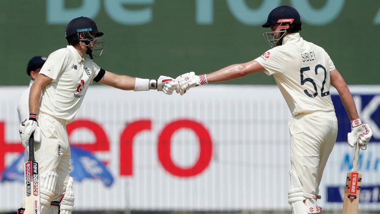 Sibley and Root are the first opposition pair to put on 200 in a Test in India since 2012  (Pic credit: BCCI)