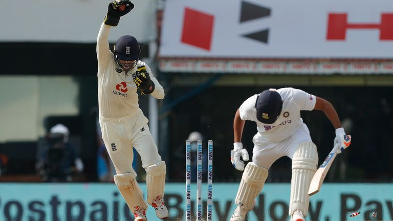 Foakes completed two stumpings on day three in Chennai, taking his tally for the match to three (Pic credit - BCCI)