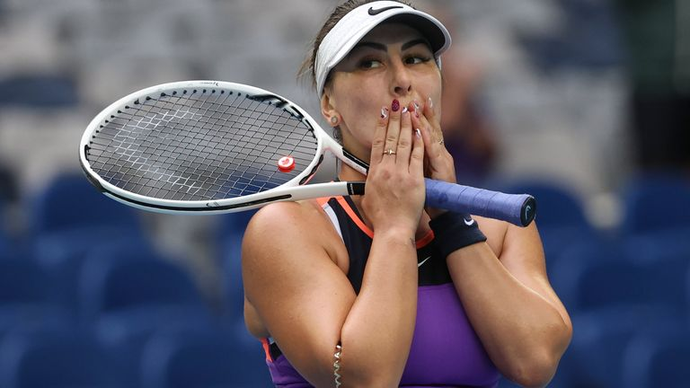 Andreescu was playing for the first time since retiring from the 2019 WTA Finals in Shenzhen with a knee injury