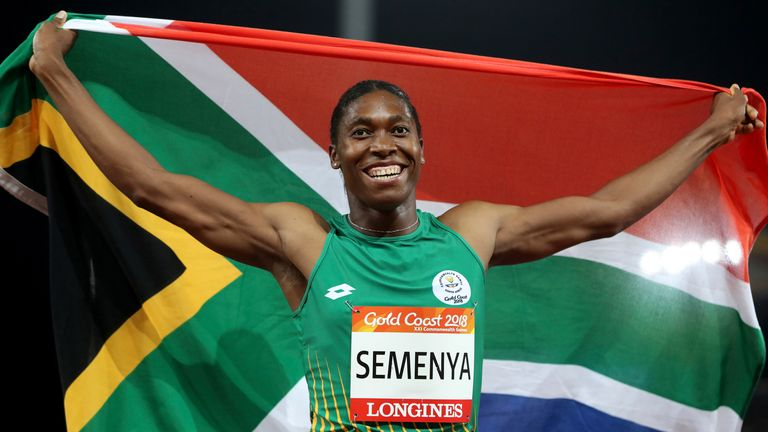 Semenya celebrates after winning the women's 800m final at the 2018 Commonwealth Games