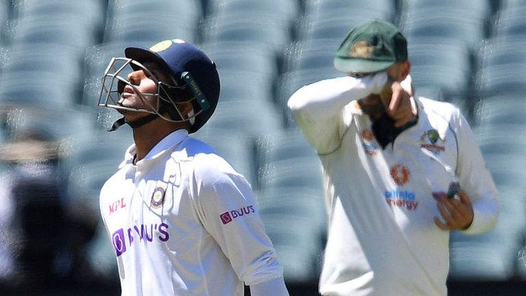Mayank Agarwal was one of five victims for Australia's Josh Hazlewood as India were demolished for 36 in the day-night Test at Adelaide in December