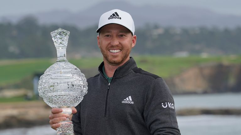 Daniel Berger with the AT&T Pebble Beach Pro-Am trophy