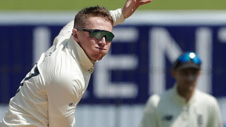 Dom Bess took 4-55 on day three of the first Test against England in Chennai (Pic credit - BCCI)