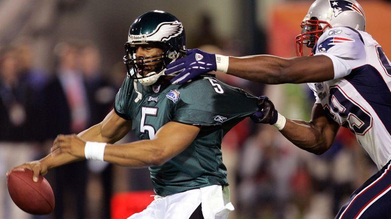 Donovan McNabb threw three interceptions in the Eagles' defeat to the Patriots in Super Bowl XXXIX