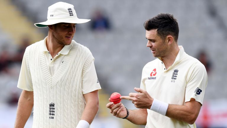 Stuart Broad and James Anderson during England's pink-ball Test against New Zealand in Auckland in 2018