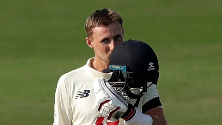 Joe Root celebrates scoring a hundred in his 100th Test on day one of the first Test against India (Pic: Sportzpics for BCCI)