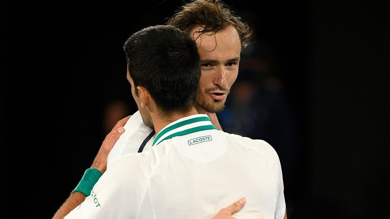 Medvedev called Djokovic a 'great sport, great person' after his defeat to the world No 1 in Sunday's final