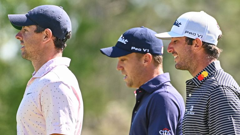 Rory McIlroy played alongside Justin Thomas (centre) and Max Home (right) who carded opening-round 73s