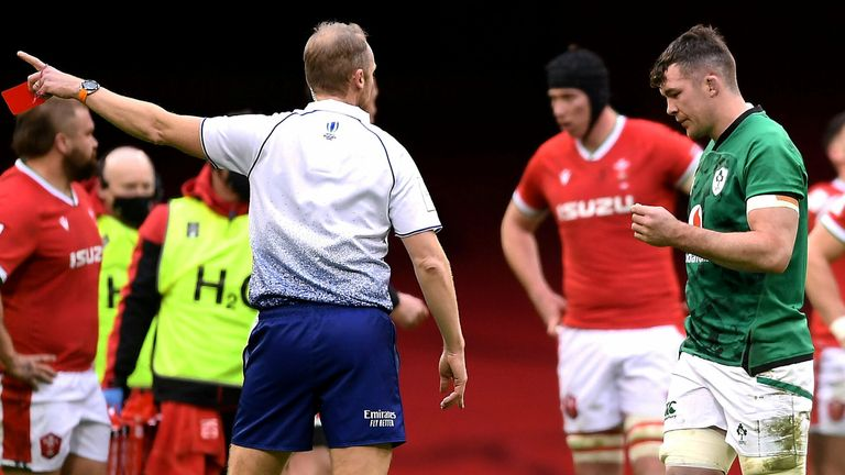 Peter O'Mahony was sent off by referee Wayne Barnes after charging dangerously into a ruck