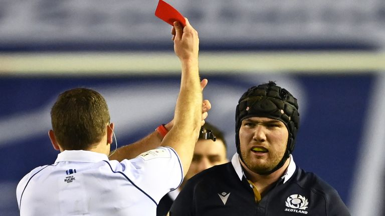 Zander Fagerson was shown a red card during Scotland's Six Nations defeat to Wales, an incident which changed the game