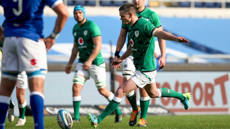 Ireland captain Johnny Sexton kicked flawlessly in the victory, landing six conversions and two penalties