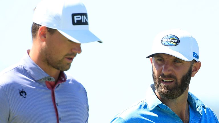 Dustin Johnson (right) played alongside Victor Perez, who posted a one-under 69 on Sunday